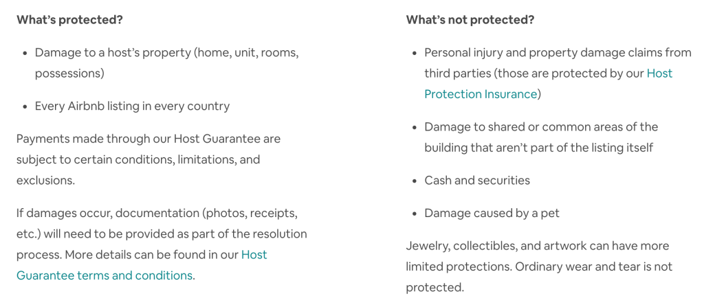 Screenshot of what is covered by the airbnb host guarantee