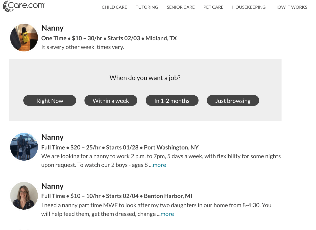 How to List or Apply to Care.com Nanny Jobs: Updated for 2019 - When do you want a job