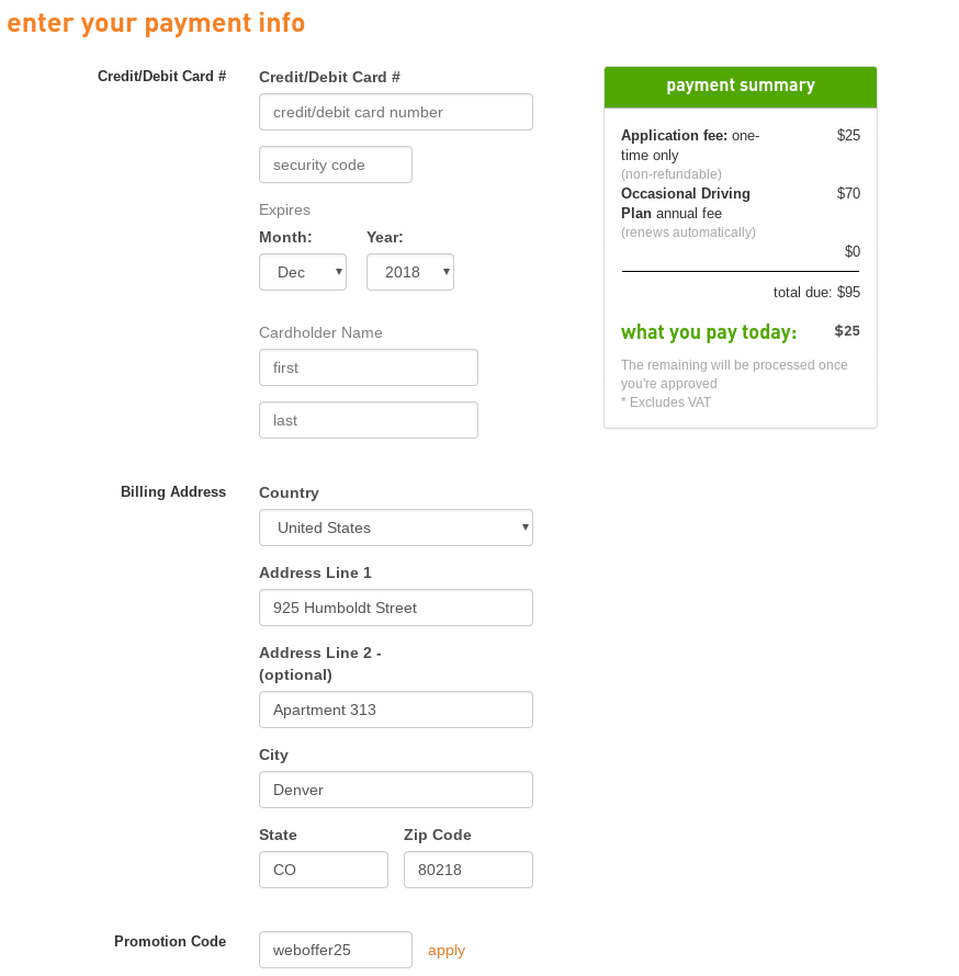 The payment information screen on Zipcar