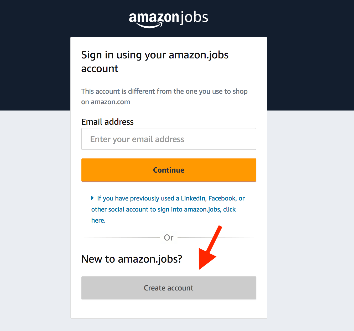 Amazon Work From Home: Create account