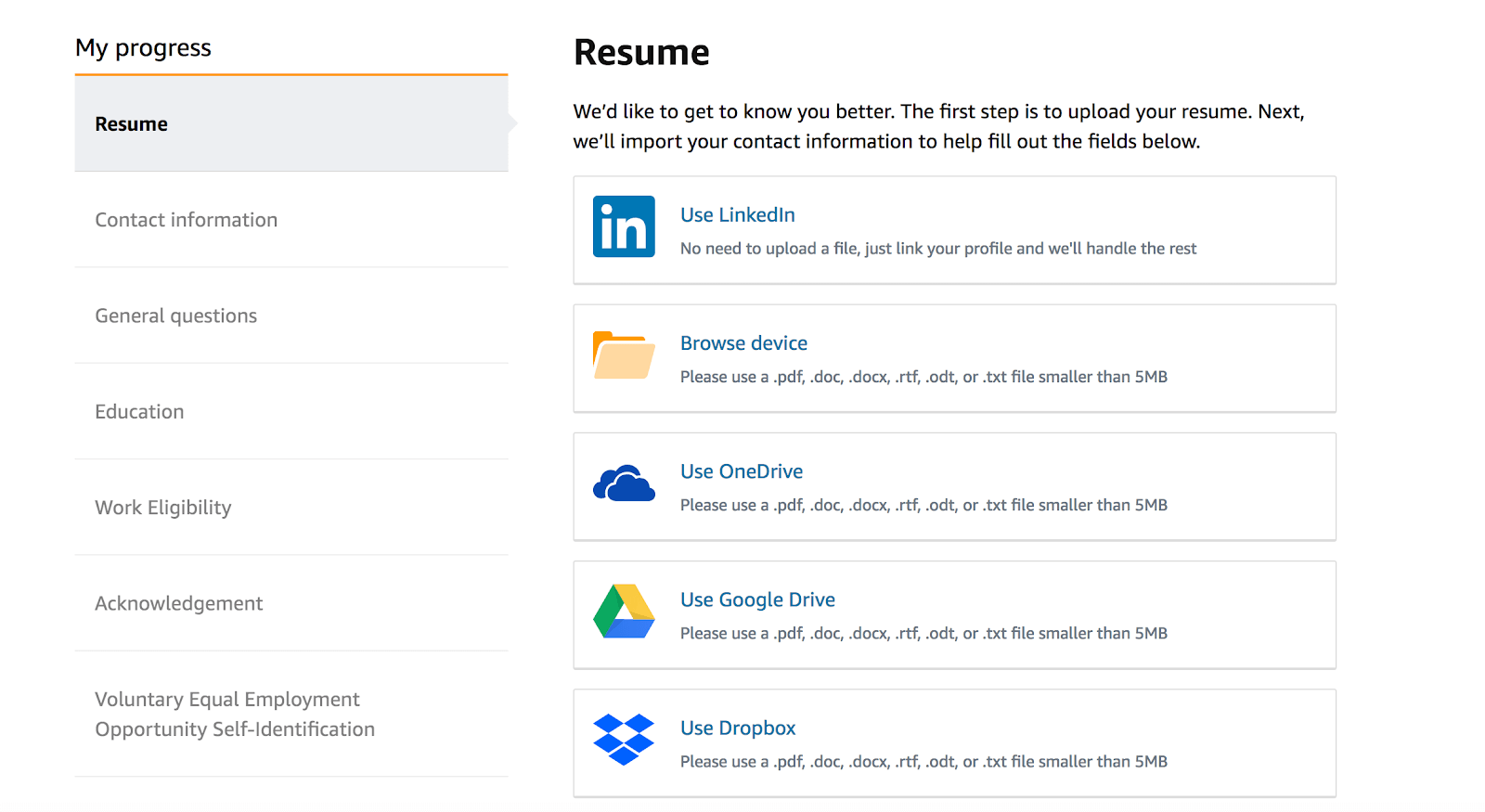 Amazon Work From Home: Job application home screen