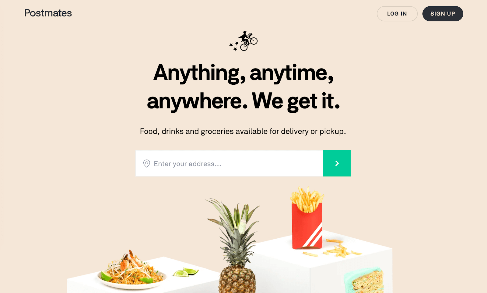 Fast Food Delivery: Postmates homepage