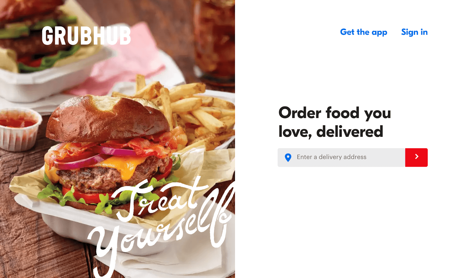 Fast Food Delivery: Grubhub homepage