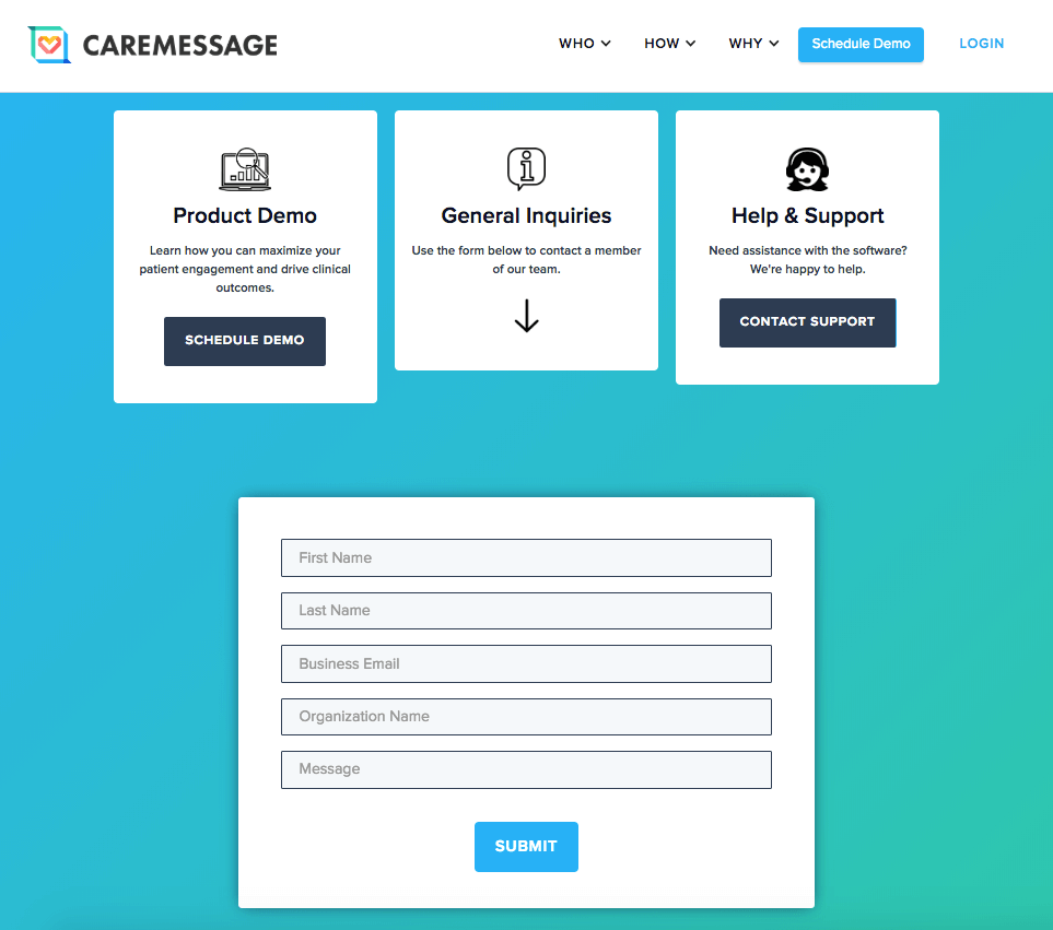 Contact form for CareMessage