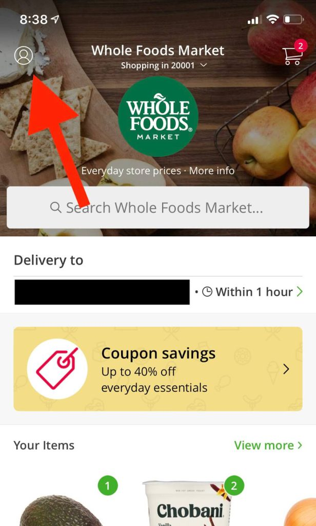 How to Cancel Instacart: Screenshot of app home screen pointing to profile icon