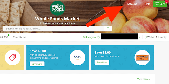 How to Cancel Instacart: Screenshot of website pointing to account page