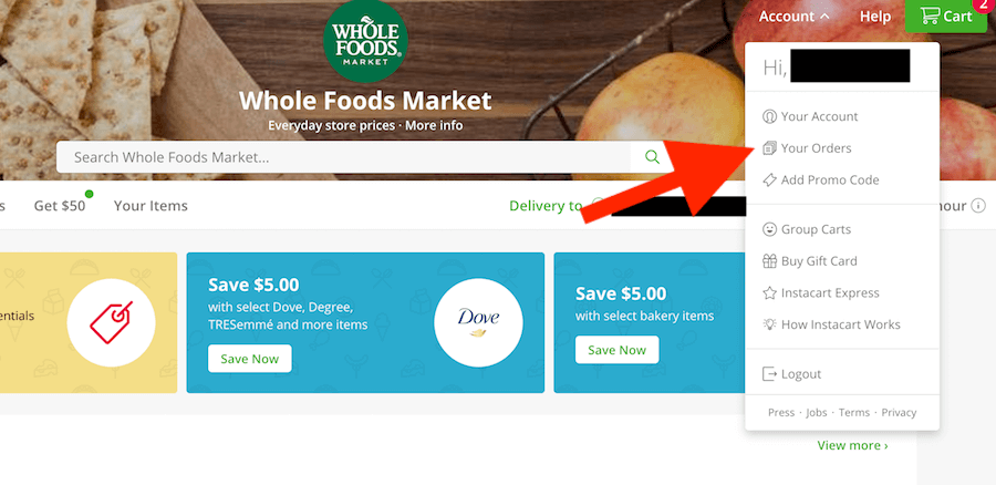 "How to Cancel Instacart: Screenshot of website pointing to ""Your Orders"""