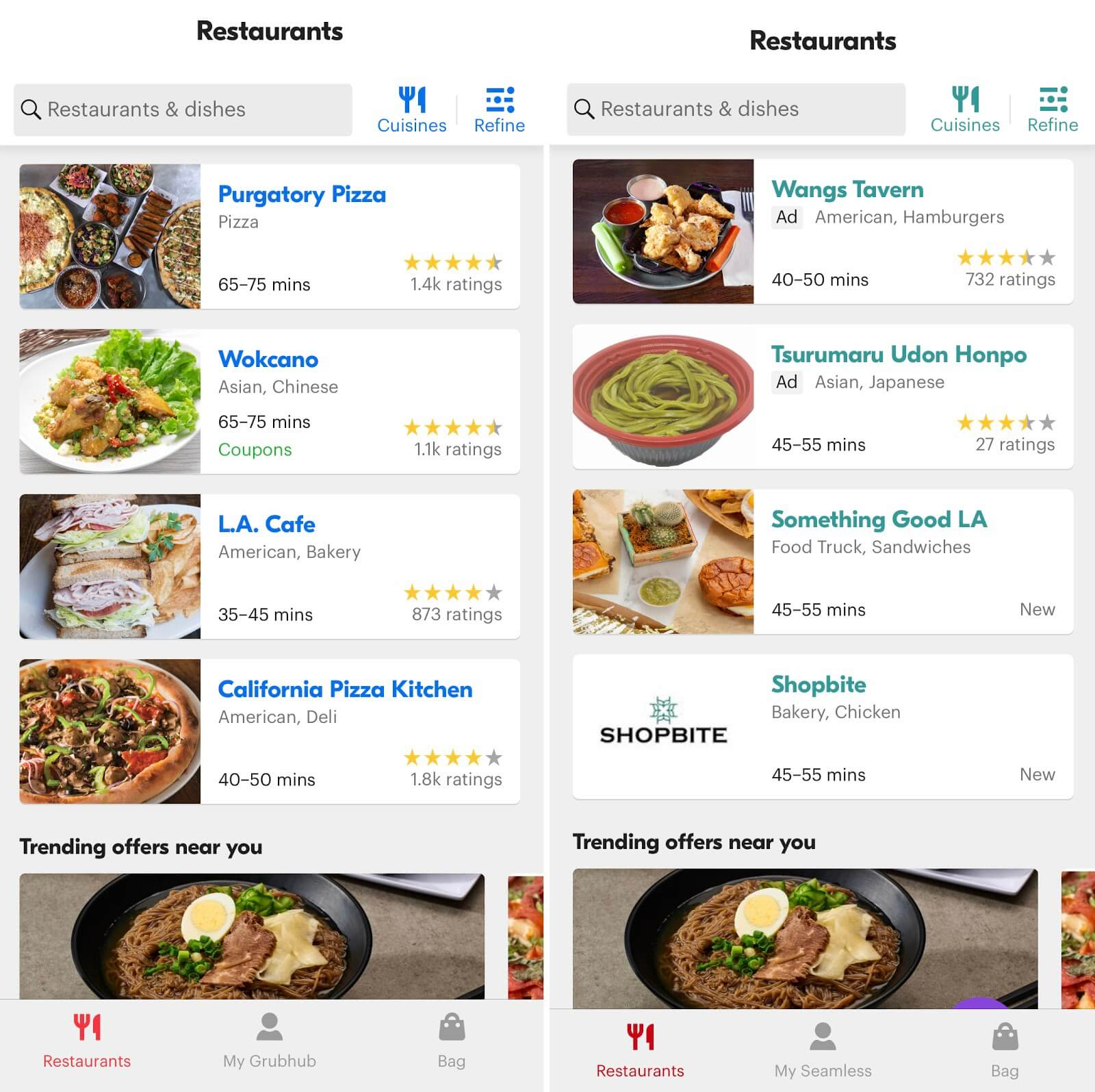 Seamless Grubhub: Comparison of the app interfaces