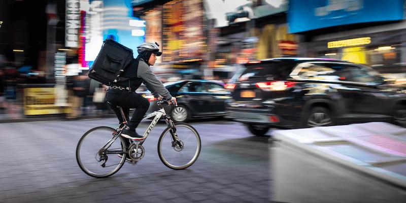 Bicyclist delivers food for gig economy job