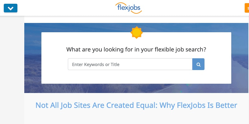 FlexJobs homepage for telecommuting jobs