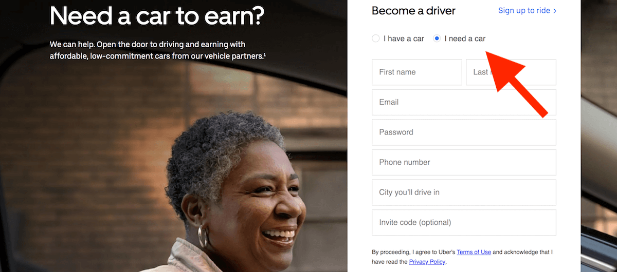 Uber XChange: the rental page on the Fair website