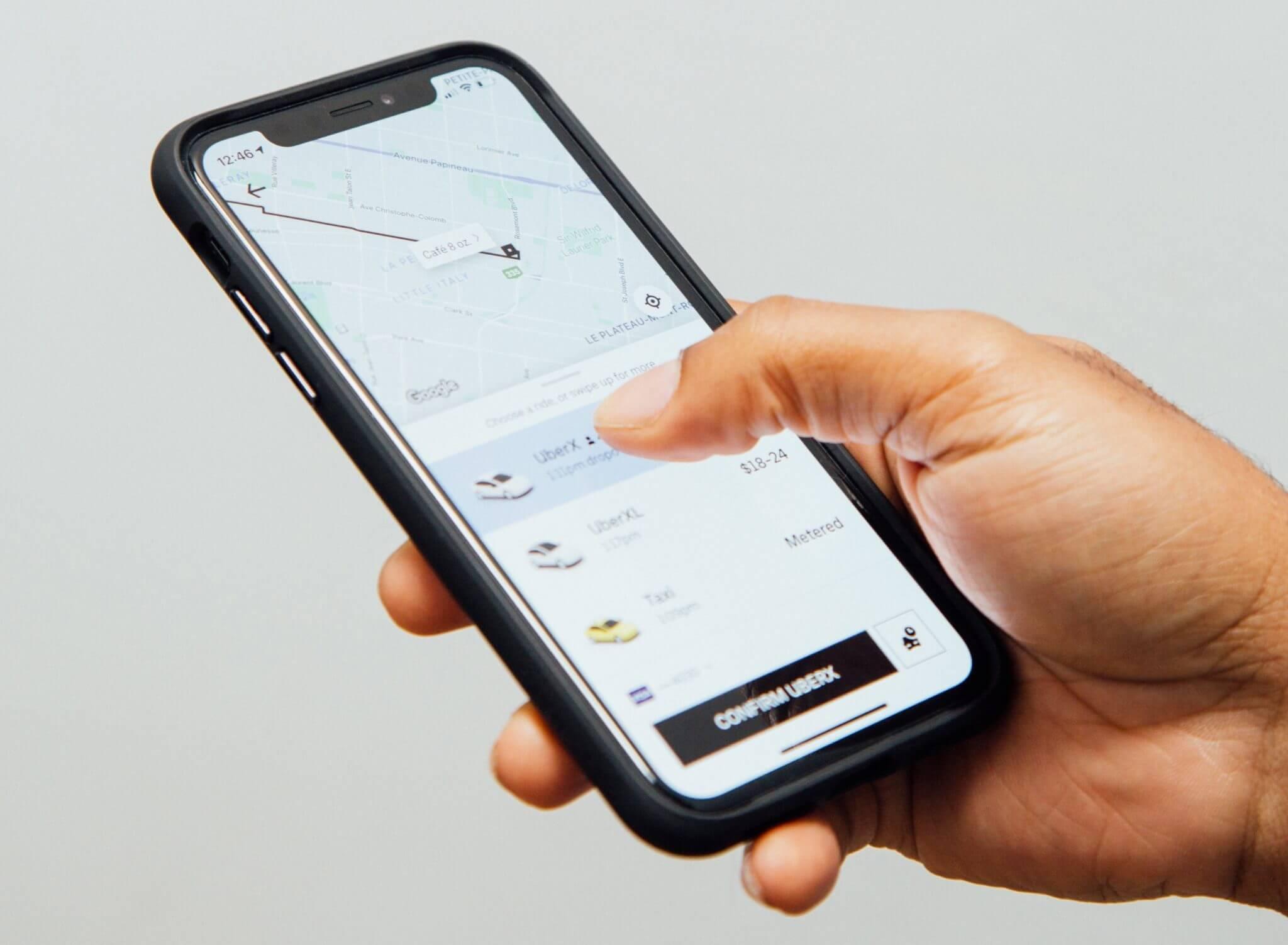 Uber Black: the Uber app on a phone screen
