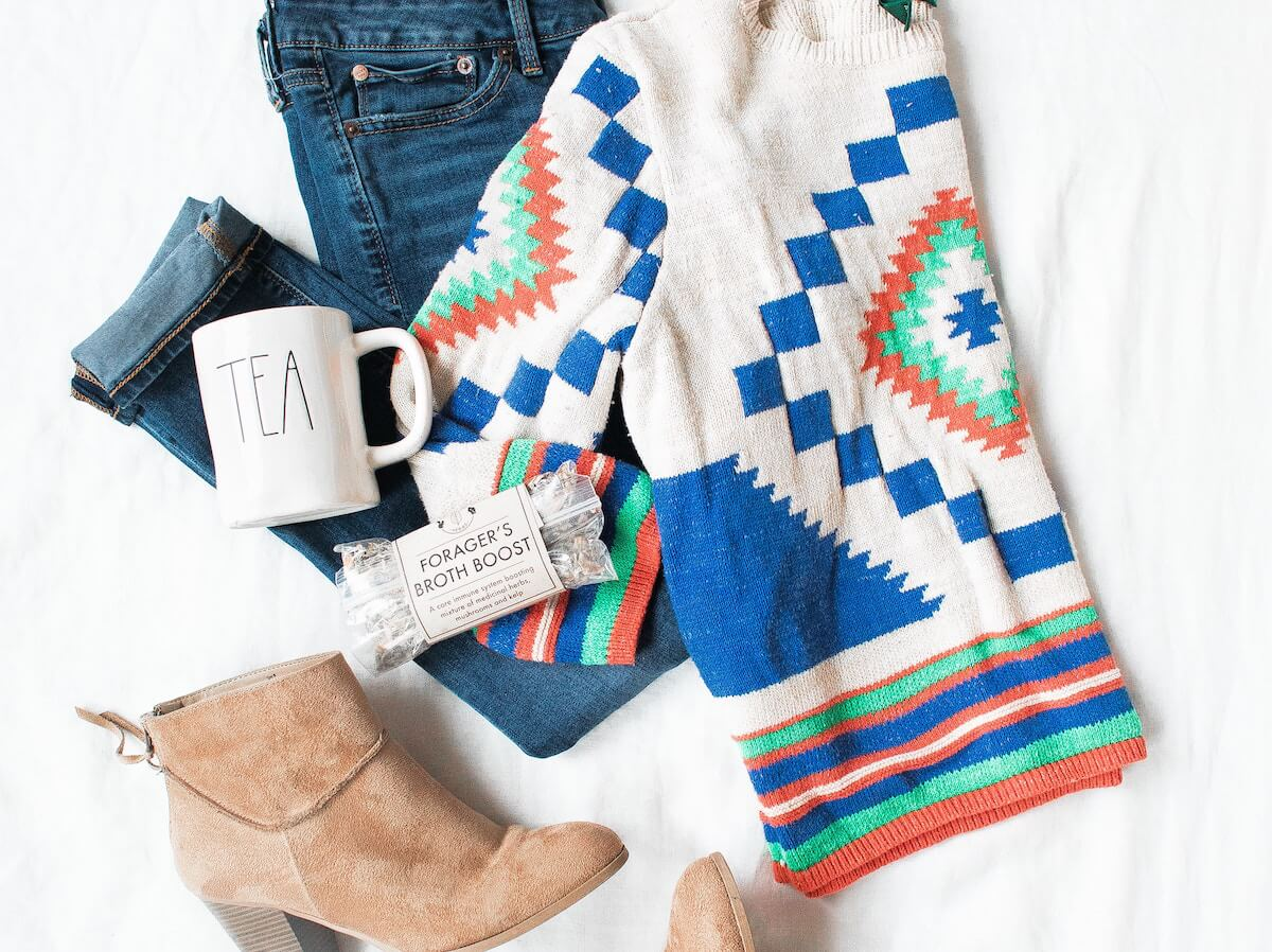 Stylish outfit laid out with other products