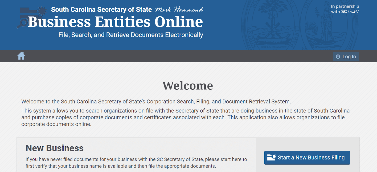 Screenshot of SC Secretary of State's Business Entities Online system
