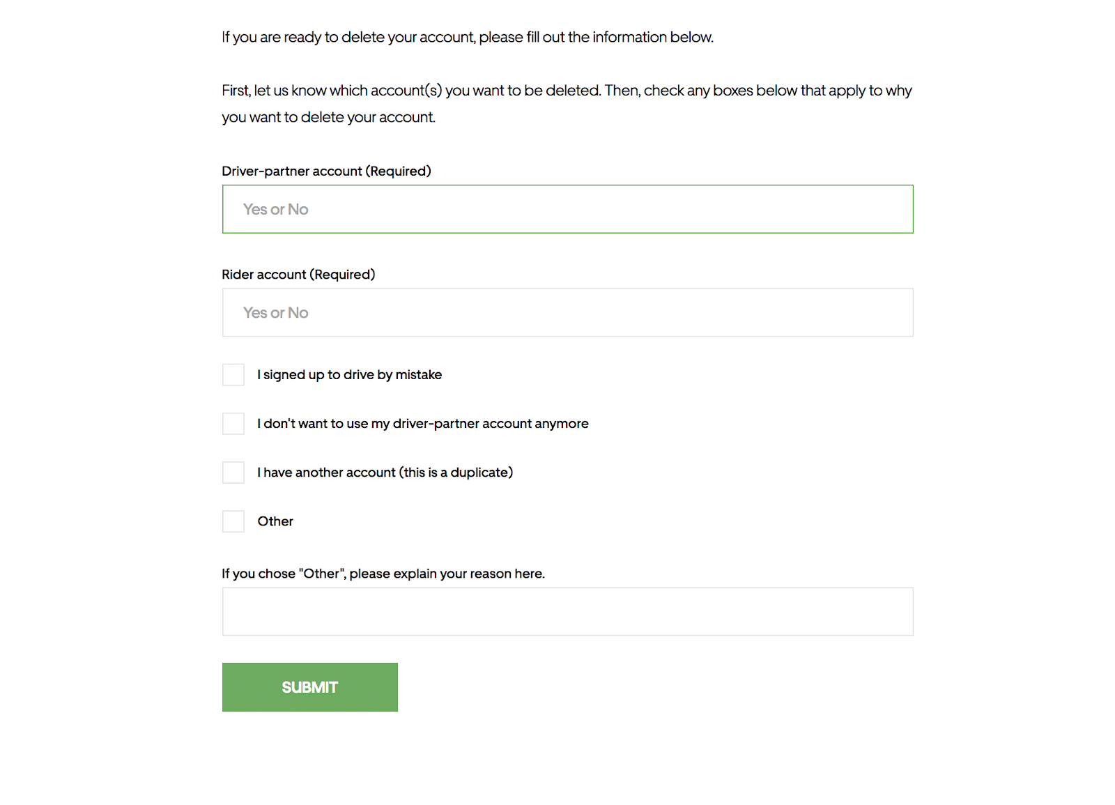Delete Uber account: the webpage form you must fill out to delete your account