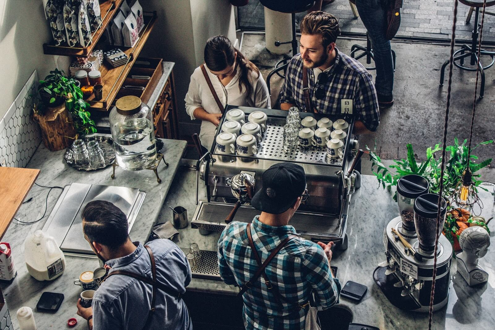 Small business grants: overhead shot of a busy coffee shop