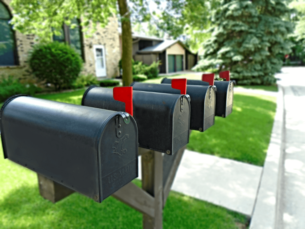 Registered agent: Mailboxes in a neighborhood