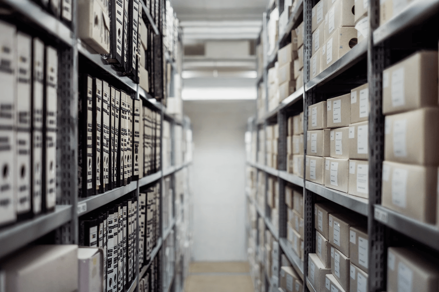 Inventory turnover: boxes of inventory organized on shelves