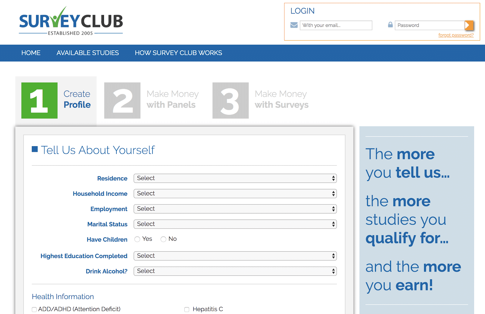 Create profile for SurveyClub