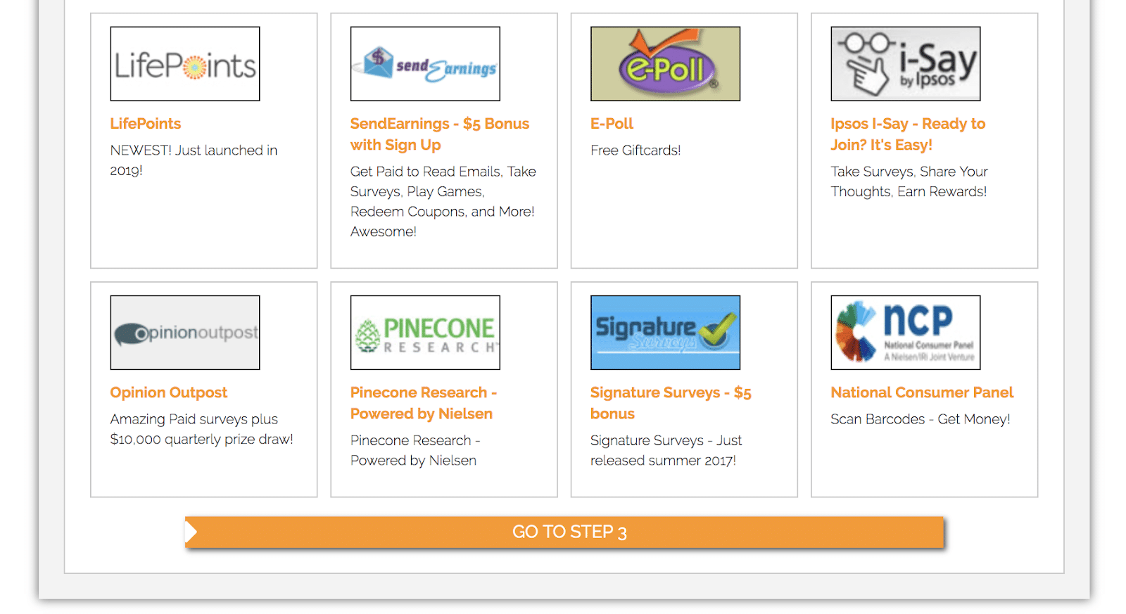 Choose research panels for SurveyClub
