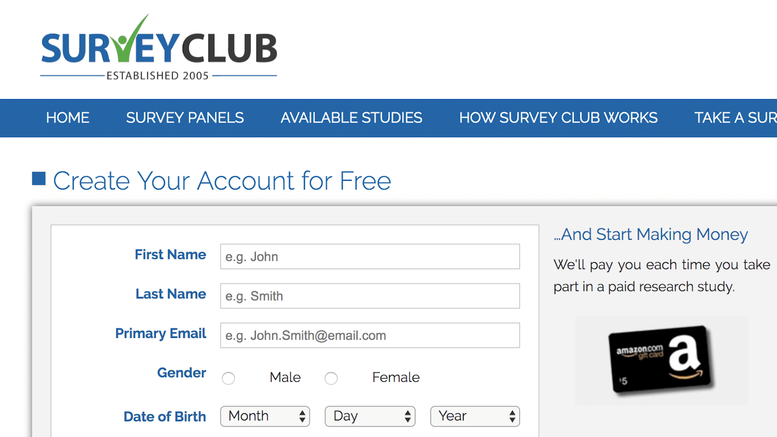 Sign up for SurveyClub