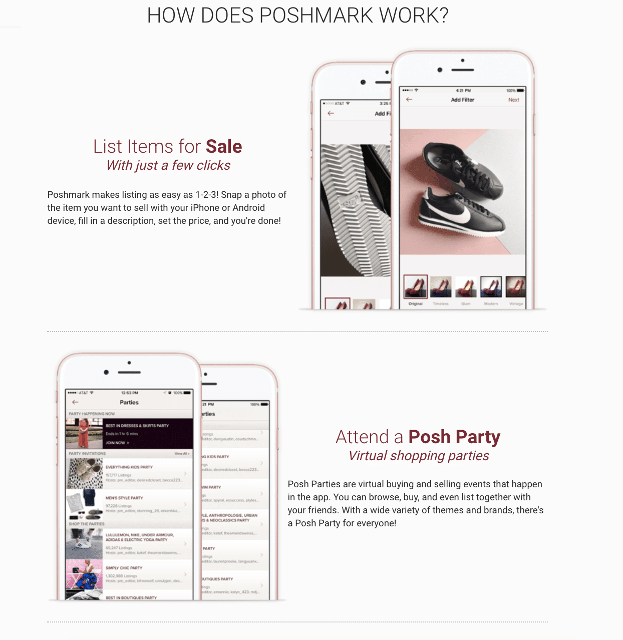 How to sell on Poshmark: the webpage explaining how the service works