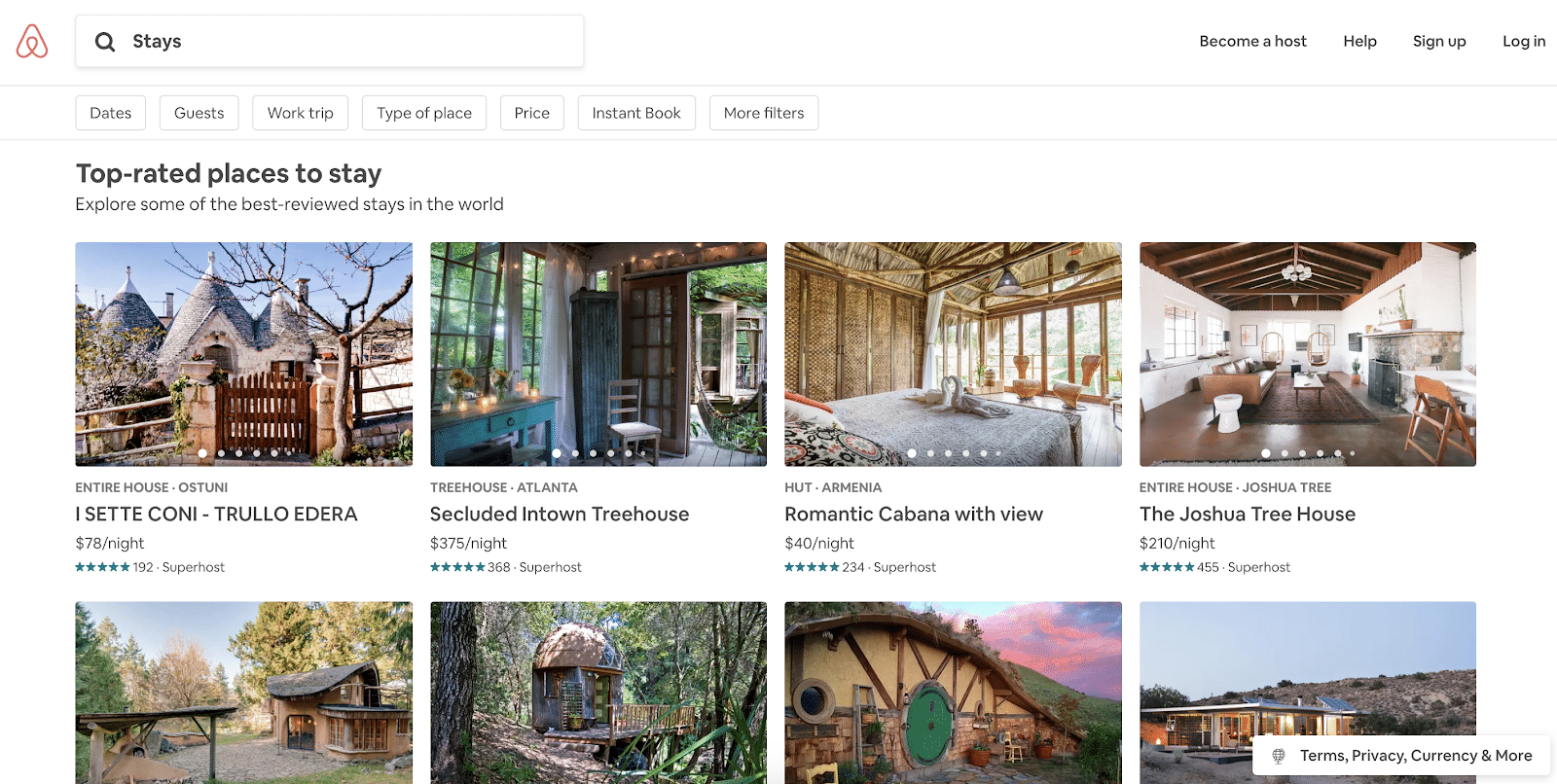 Airbnb vs. Vrbo: an Airbnb search results page
