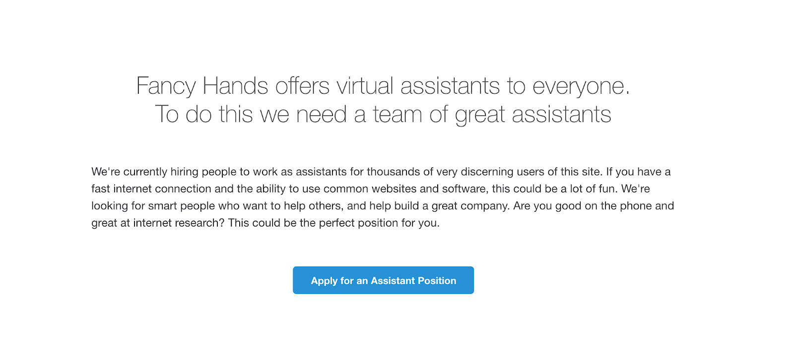 The Fancy Hands web page to apply for an assistant position
