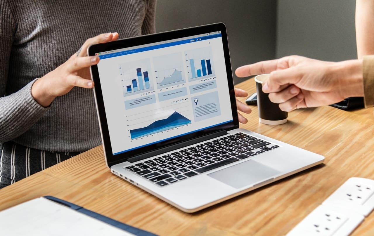 An analysis chart on a laptop