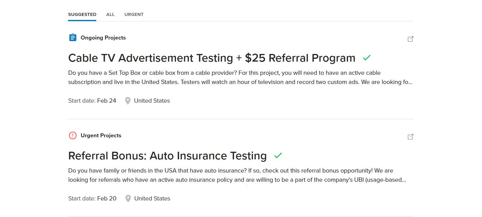 uTest job postings page