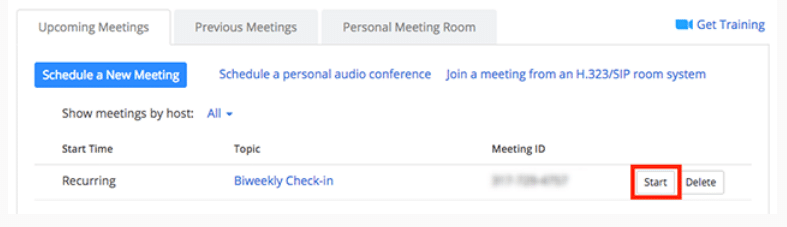 Starting a zoom meeting