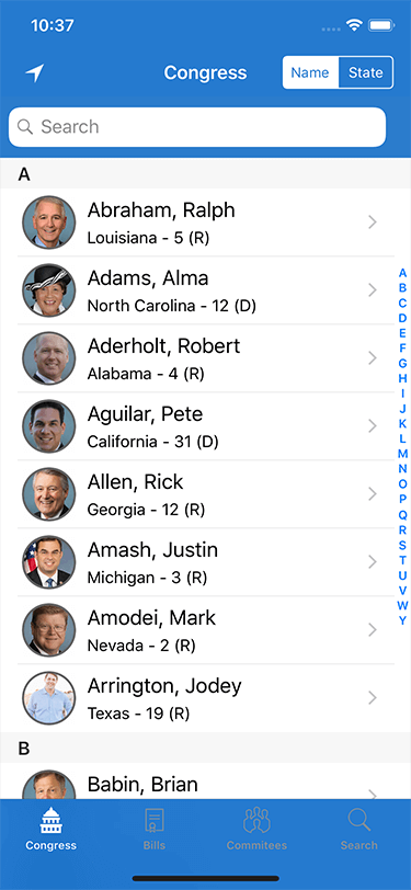 Congress for iOS Congress List Screen