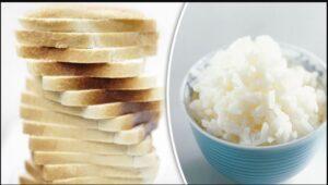 Nasi mengandung banyak karbohidrat.
