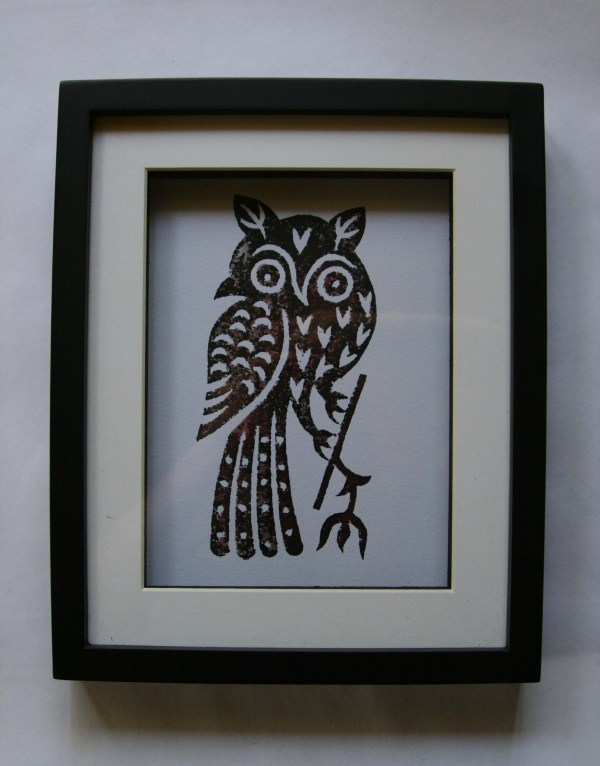 Art - Owl Framed Print Block Gilberts Tree