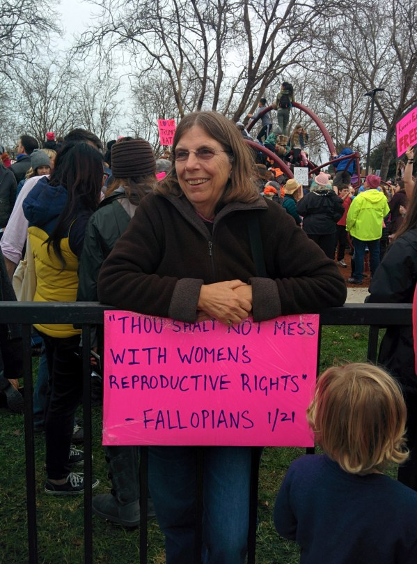 """""""Thou shalt not mess with women's reproductive rights"""" --Fallopians 1:21"""
