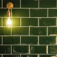 Green Glass Subway Tile Kitchen