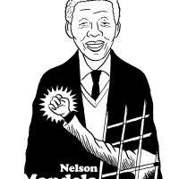 Nelson Mandela (dessin noir et blanc)