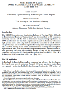 Anti Bribery Laws in the UK and Germany