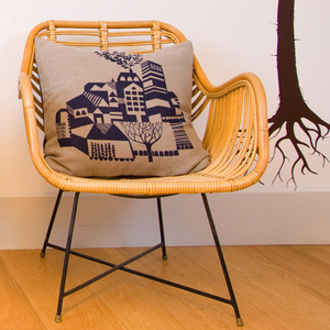 Maxine Sutton Old Town screen printed cushion