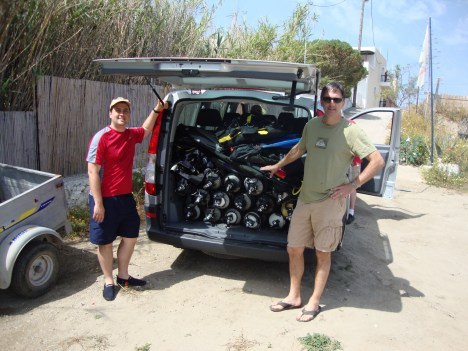 Dave and Jan with dive gear.