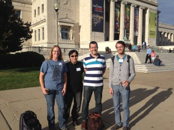 Christa Phelps, Igor Ogashawara, Nico Clercin, and James Harris (left to right) outside the Field Museum.