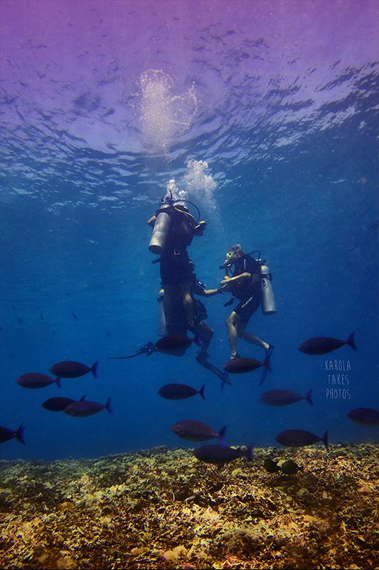 Gili Divers instructors and students decending