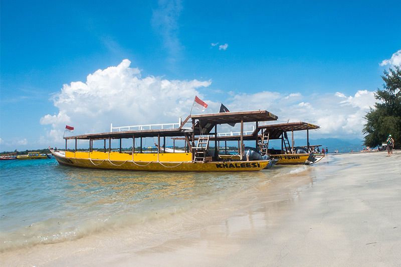 two of Gili Divers fleet on the beach just outside the dive center