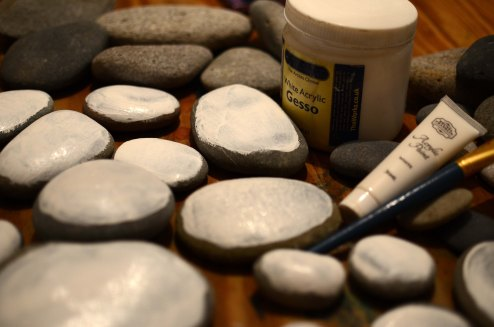 painting stones white in preparation