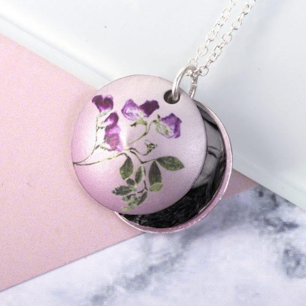 April Sweet Pea Birth Flower Personalised Locket