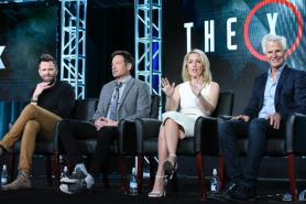 """Actors Joel McHale, from left, David Duchovny, Gillian Anderson and creator/Executive producer Chris Carter participate in """"The X Files"""" panel at the Fox Winter TCA on Friday, Jan. 15, 2016, Pasadena, Calif. (Photo by Richard Shotwell/Invision/AP)"""