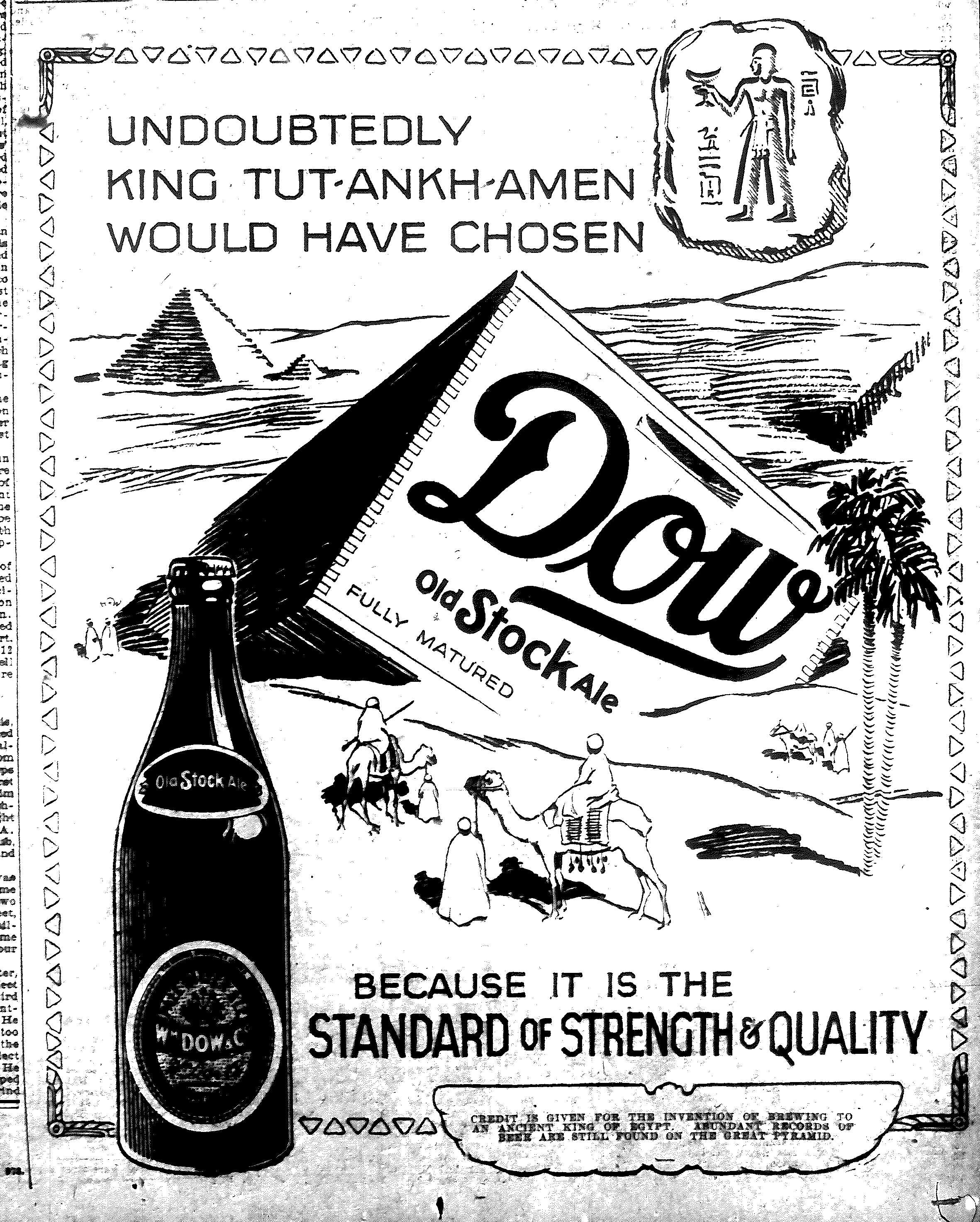 King Tut would have chose Dow Old Stock Ale, 1923