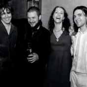 David Rawlings, Jim James, Gillian Welch, and Conor Oberst after the encore. Greek Amphitheatre, Berkley CA. 5/4/07