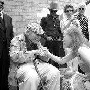 Gillian Welch meets George Wein, who started the Newport Folk Festival. Standing are Charlie Green (Preservation Hall Jazz Band), Willie Watson, Ian O'Neil (Deer Tick), and Robyn Hitchcock.