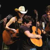 Peter Rowan, Gillian, Sean Watkins, and David close out the midnight jam. Merlefest 2006